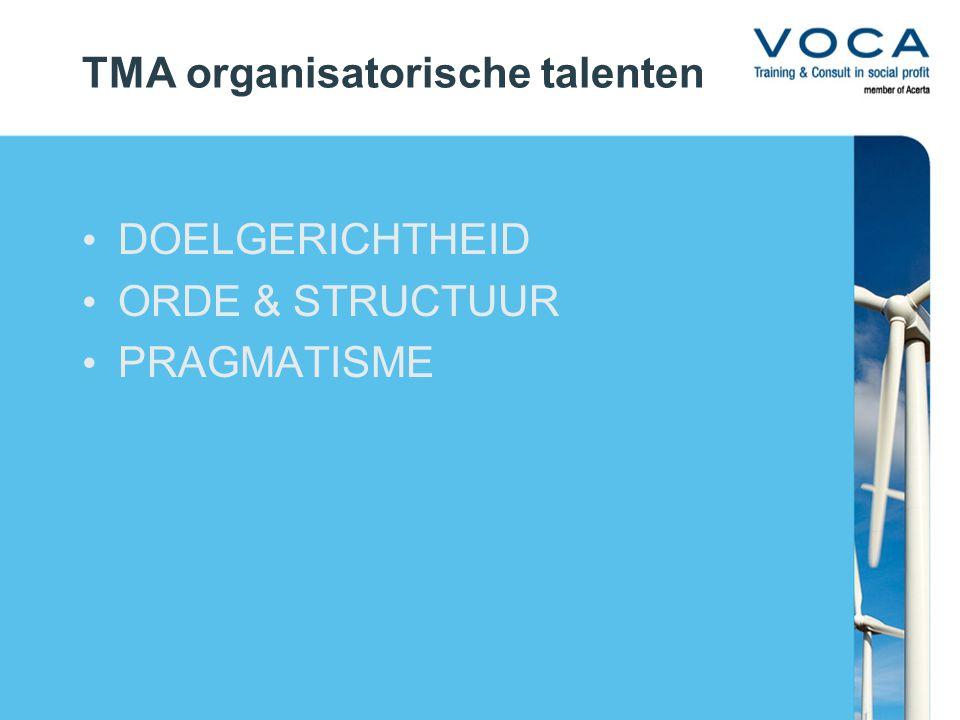 TMA organisatorische talenten DOELGERICHTHEID ORDE & STRUCTUUR PRAGMATISME