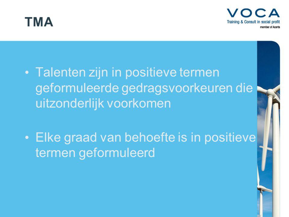 TMA Talenten zijn in positieve termen geformuleerde gedragsvoorkeuren die uitzonderlijk voorkomen Elke graad van behoefte is in positieve termen geformuleerd