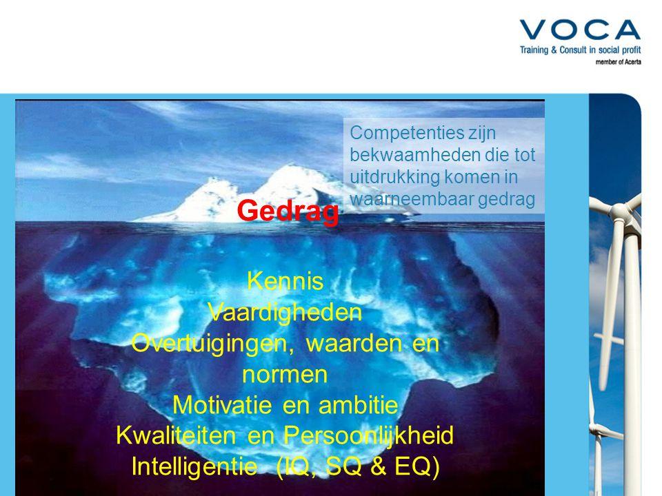 Kennis Vaardigheden Overtuigingen, waarden en normen Motivatie en ambitie Kwaliteiten en Persoonlijkheid Intelligentie (IQ, SQ & EQ) Competenties zijn bekwaamheden die tot uitdrukking komen in waarneembaar gedrag Gedrag
