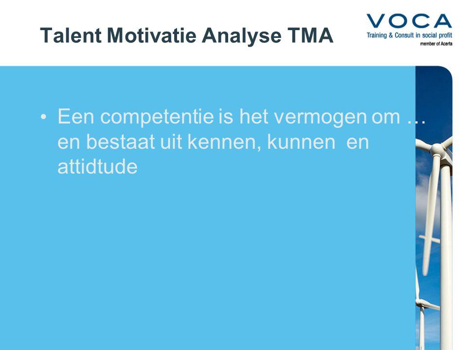 Talent Motivatie Analyse TMA Een competentie is het vermogen om … en bestaat uit kennen, kunnen en attidtude