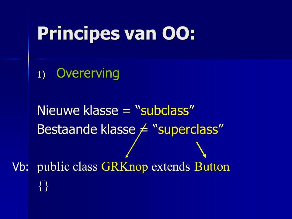 Overerving: principe - De nieuwe klasse begint met dezelfde attributen en methoden als de superklasse; dus alsof je alles van de superklasse nog eens hebt overgeschreven.