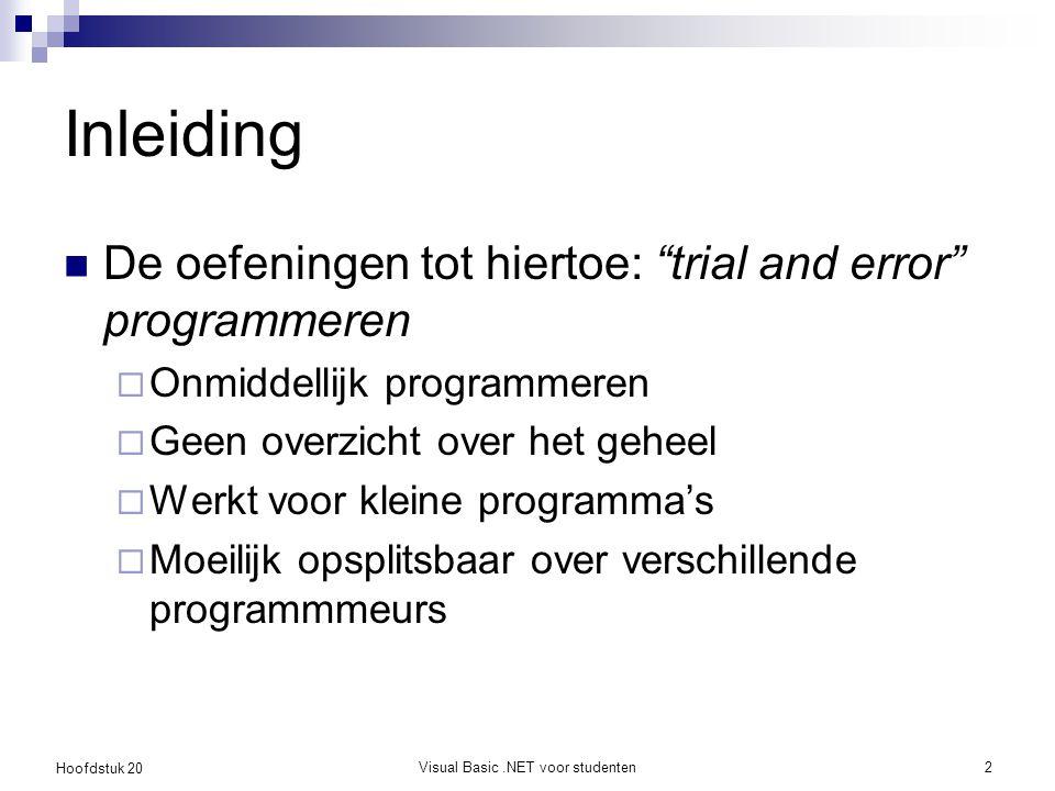 Hoofdstuk 20 Visual Basic.NET voor studenten3 Ontwikkelmethodes Beschrijven een proces voor het ontwerpen en schrijven van programma's UML is geen proces, enkel een hulpmiddel (tekeningen) Voorbeelden:  Watervalmodel, spiraalmodel  Rational Unified Process (RUP)  eXtreme Programming (XP)  Agile programming