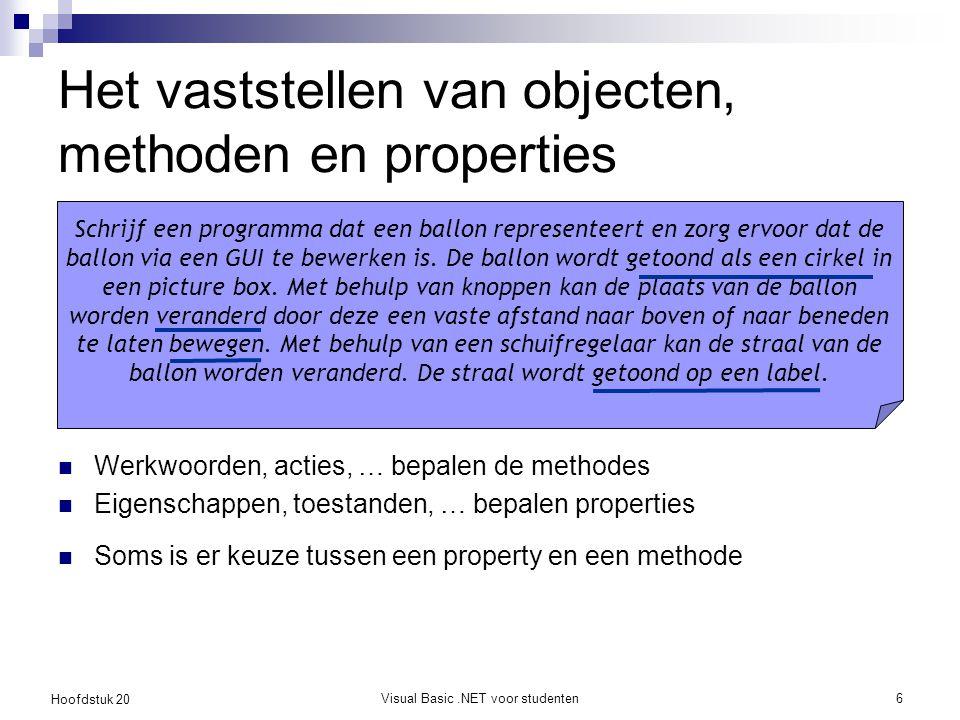Hoofdstuk 20 Visual Basic.NET voor studenten6 Het vaststellen van objecten, methoden en properties Werkwoorden, acties, … bepalen de methodes Eigensch