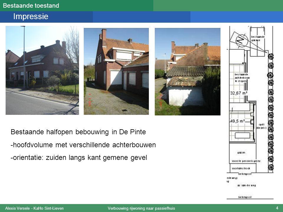 Verbouwing rijwoning naar passiefhuisAlexis Versele - KaHo Sint-Lieven 25 Belangrijkste resultaten PHPP-studie Belangrijke resultaten: Energiekengetal verwarming:15 kWh/m²a Luchtdichtheid (ventilatievoud)0,4 /h Behoefte verwarming10,5 W/m² -> criterium te nipt gehaald