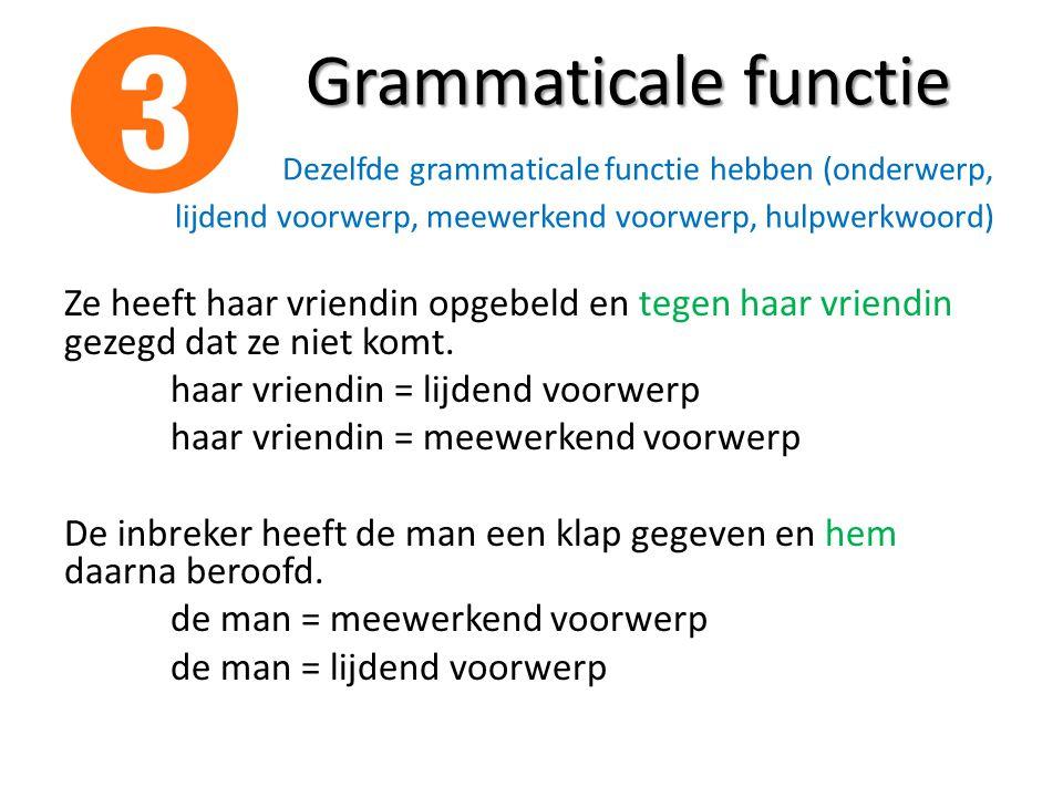 Grammaticale functie Grammaticale functie Dezelfde grammaticale functie hebben (onderwerp, lijdend voorwerp, meewerkend voorwerp, hulpwerkwoord) Ze he