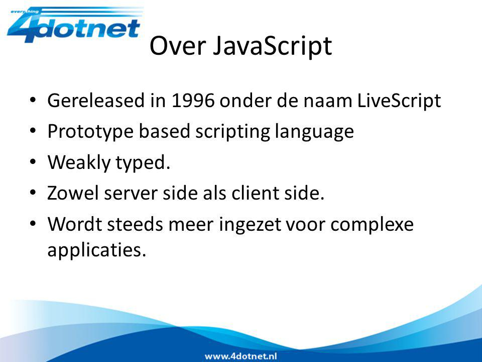 Over JavaScript Gereleased in 1996 onder de naam LiveScript Prototype based scripting language Weakly typed.