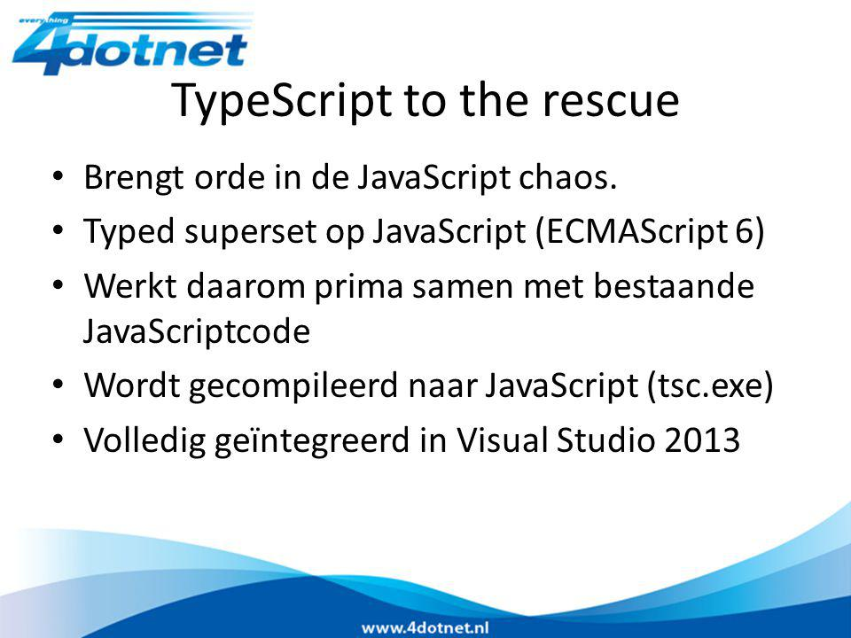 TypeScript to the rescue Brengt orde in de JavaScript chaos.