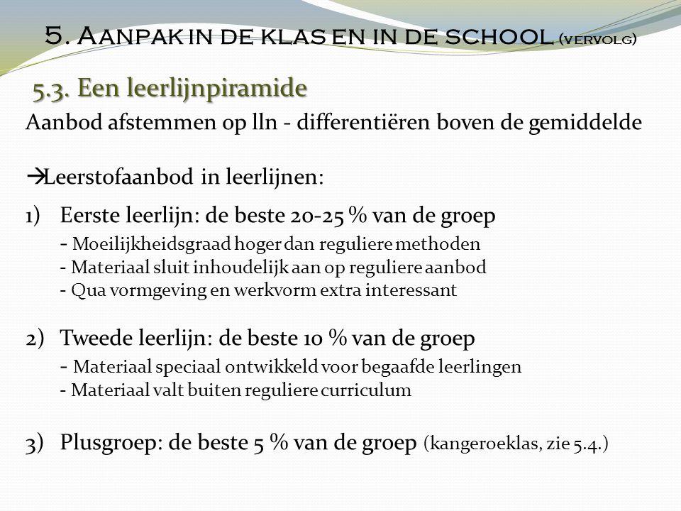 5. Aanpak in de klas en in de school (vervolg) 5.3. Een leerlijnpiramide 5.3. Een leerlijnpiramide Aanbod afstemmen op lln - differentiëren boven de g