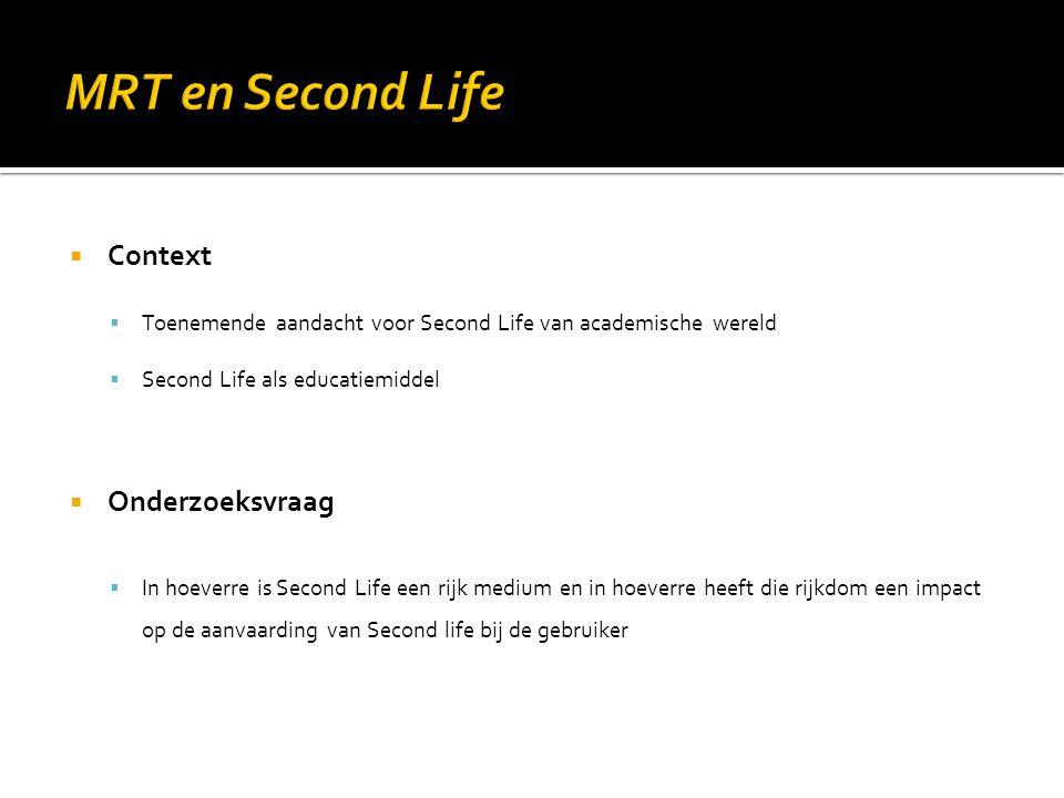  Context  Toenemende aandacht voor Second Life van academische wereld  Second Life als educatiemiddel  Onderzoeksvraag  In hoeverre is Second Lif