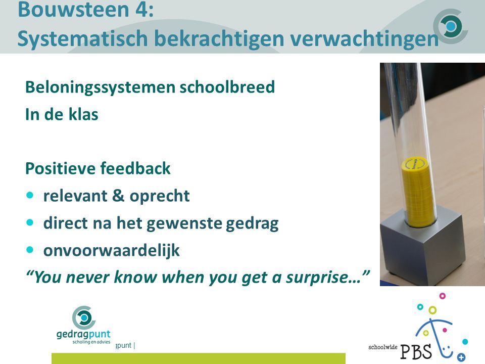 Gedragpunt | Bouwsteen 4: Systematisch bekrachtigen verwachtingen Beloningssystemen schoolbreed In de klas Positieve feedback relevant & oprecht direc