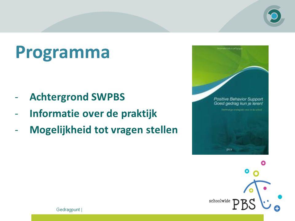 Gedragpunt | Programma -Achtergrond SWPBS -Informatie over de praktijk -Mogelijkheid tot vragen stellen