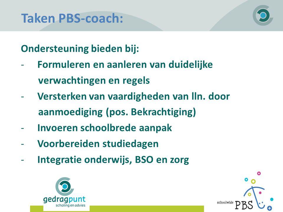 Gedragpunt | Taken PBS-coach: Ondersteuning bieden bij: -Formuleren en aanleren van duidelijke verwachtingen en regels -Versterken van vaardigheden va