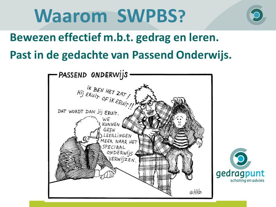 Gedragpunt | Waarom SWPBS ? Bewezen effectief m.b.t. gedrag en leren. Past in de gedachte van Passend Onderwijs.