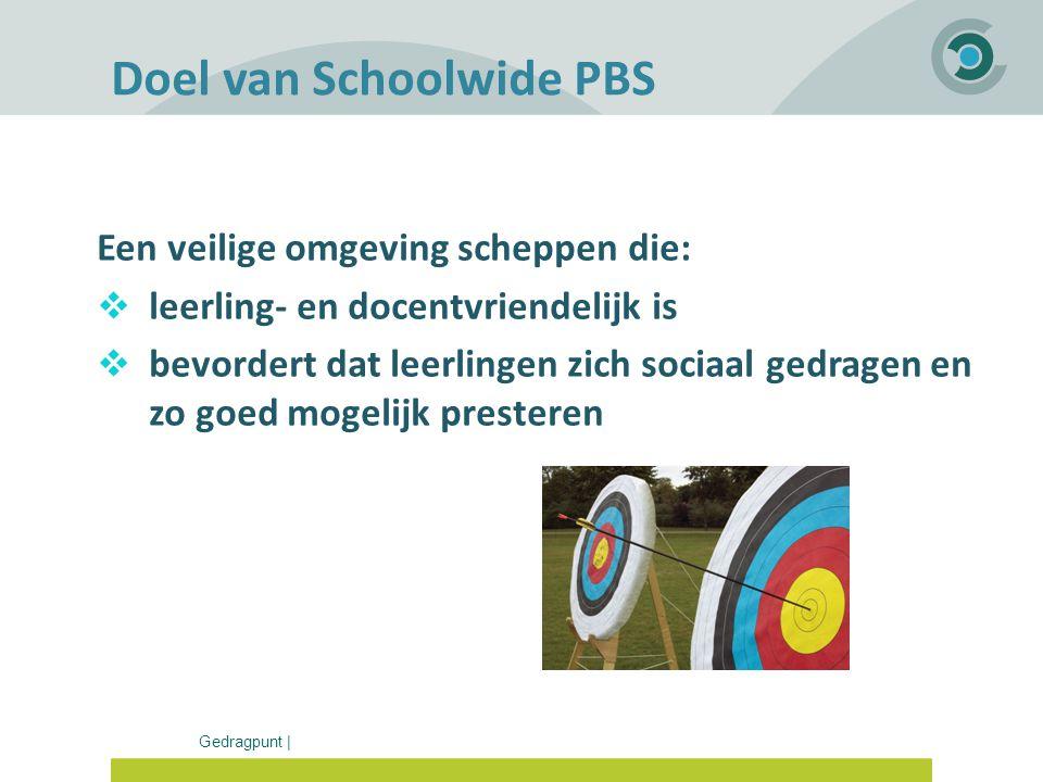 Gedragpunt | Doel van Schoolwide PBS Een veilige omgeving scheppen die:  leerling- en docentvriendelijk is  bevordert dat leerlingen zich sociaal ge