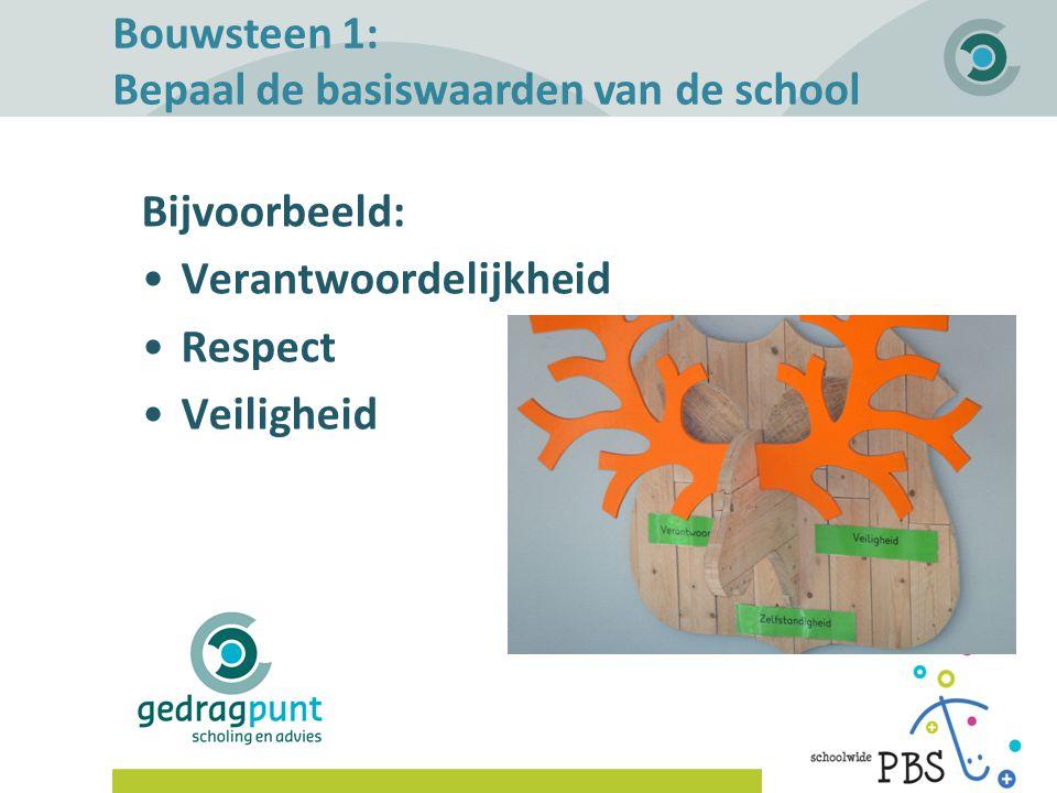 Gedragpunt | Bouwsteen 1: Bepaal de basiswaarden van de school Bijvoorbeeld: Verantwoordelijkheid Respect Veiligheid