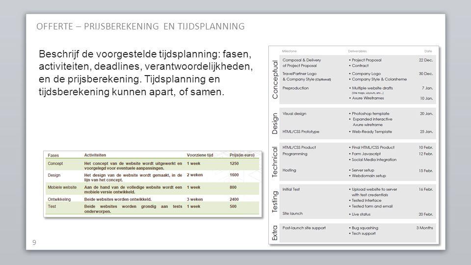OFFERTE – PRIJSBEREKENING EN TIJDSPLANNING 9 Beschrijf de voorgestelde tijdsplanning: fasen, activiteiten, deadlines, verantwoordelijkheden, en de pri