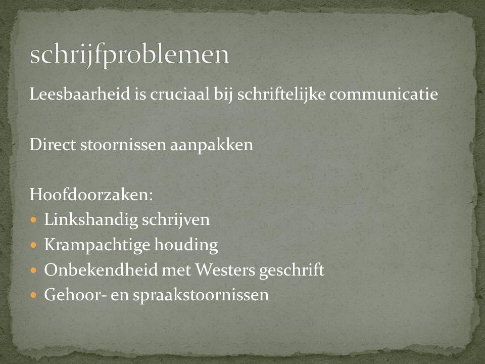 Leesbaarheid is cruciaal bij schriftelijke communicatie Direct stoornissen aanpakken Hoofdoorzaken: Linkshandig schrijven Krampachtige houding Onbeken