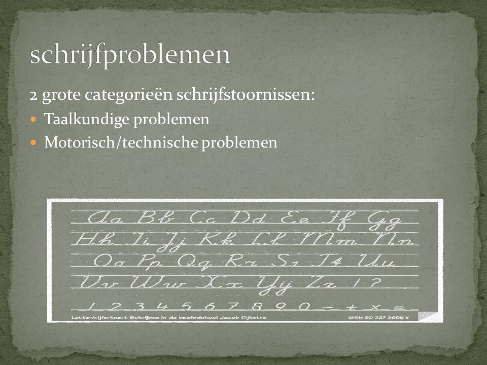 2 grote categorieën schrijfstoornissen: Taalkundige problemen Motorisch/technische problemen