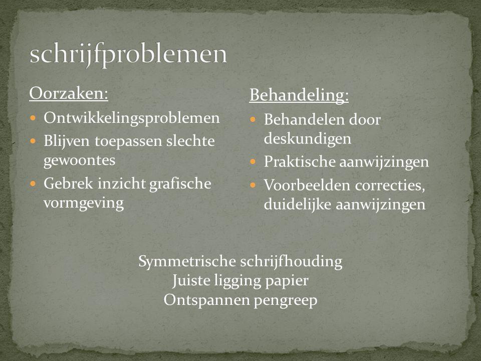 Oorzaken: Ontwikkelingsproblemen Blijven toepassen slechte gewoontes Gebrek inzicht grafische vormgeving Behandeling: Behandelen door deskundigen Prak