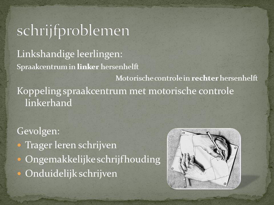 Linkshandige leerlingen: Spraakcentrum in linker hersenhelft Motorische controle in rechter hersenhelft Koppeling spraakcentrum met motorische control