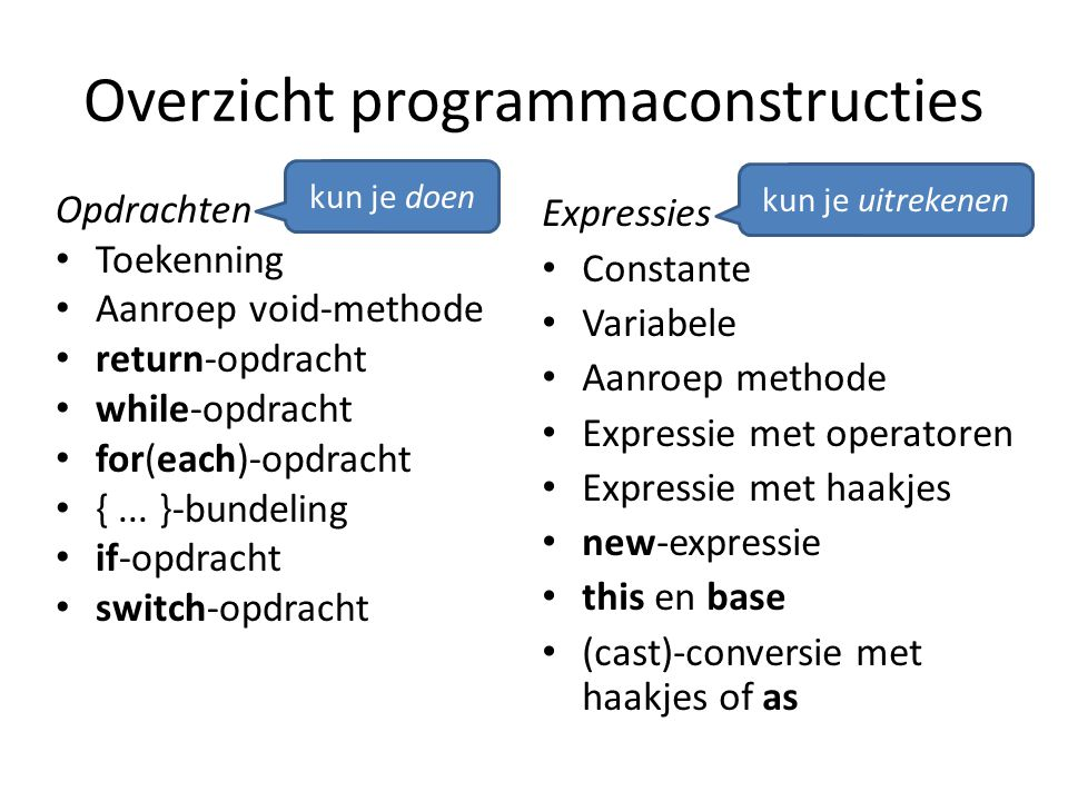 Excepties Meerdere catch-gedeelten voor verschillende soorten excepties try { StreamReader r = new StreamReader( test.txt ); string t = r.ReadToEnd(); } catch (FileNotFoundException e) { Console.WriteLine( The file was not found ); } catch (IOException e) { Console.WriteLine( IOException during file read ); }