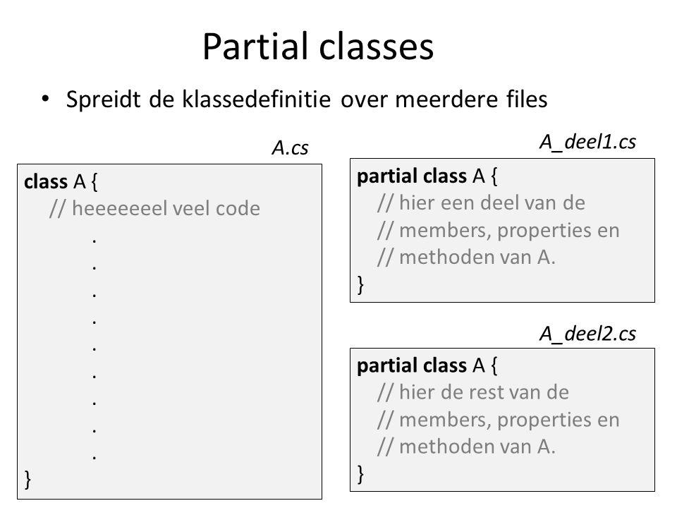 Level en Player zijn partial classes Level.cs Membervariabelen Handige properties en methoden LevelLoading.cs Alle methoden om tiles mee te laden LevelGameLoop.cs Player.cs PlayerPhysics.cs