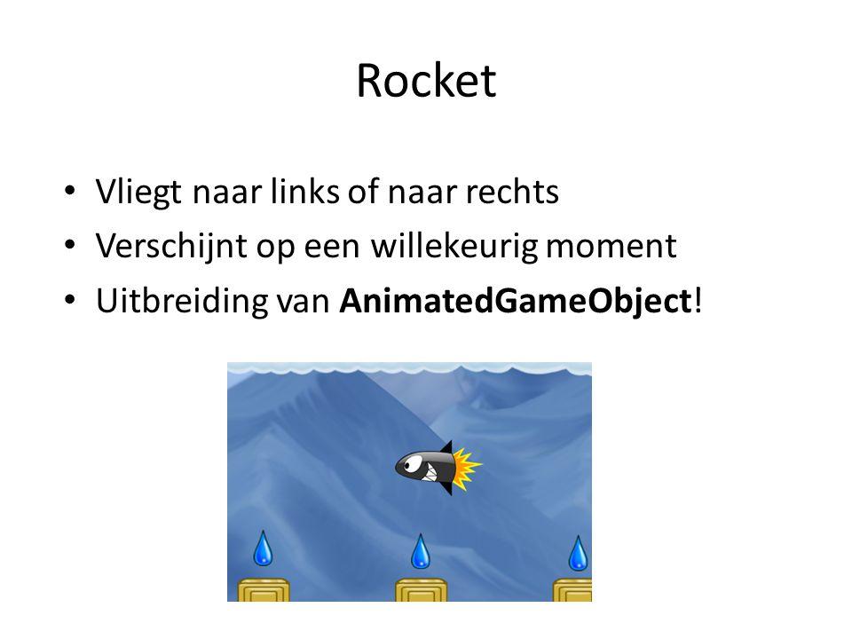 Rocket Vliegt naar links of naar rechts Verschijnt op een willekeurig moment Uitbreiding van AnimatedGameObject!