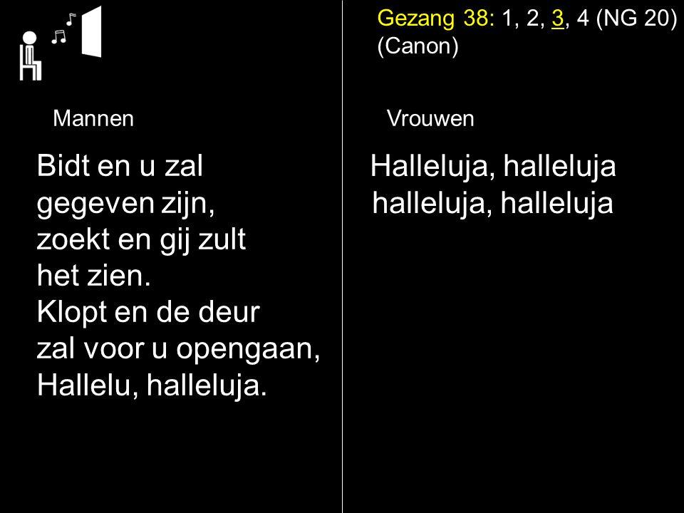 Gezang 38: 1, 2, 3, 4 (NG 20) (Canon) Halleluja, halleluja halleluja, halleluja Bidt en u zal gegeven zijn, zoekt en gij zult het zien.