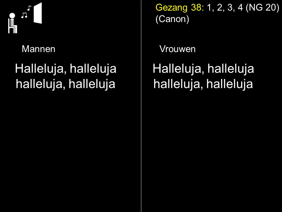 Gezang 38: 1, 2, 3, 4 (NG 20) (Canon) Halleluja, halleluja halleluja, halleluja Halleluja, halleluja halleluja, halleluja MannenVrouwen