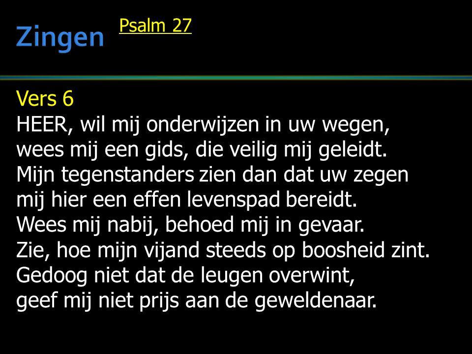 Vers 6 HEER, wil mij onderwijzen in uw wegen, wees mij een gids, die veilig mij geleidt. Mijn tegenstanders zien dan dat uw zegen mij hier een effen l