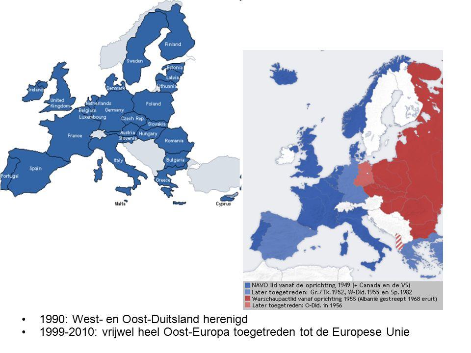 1990: West- en Oost-Duitsland herenigd 1999-2010: vrijwel heel Oost-Europa toegetreden tot de Europese Unie
