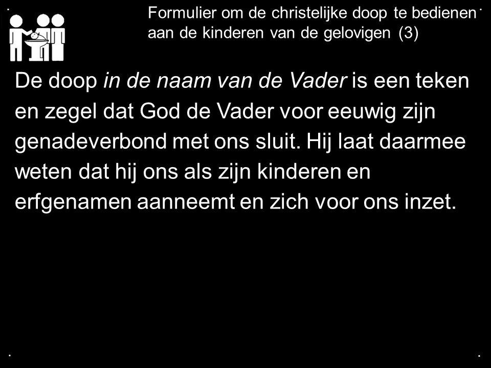 .... Formulier om de christelijke doop te bedienen aan de kinderen van de gelovigen (3) De doop in de naam van de Vader is een teken en zegel dat God