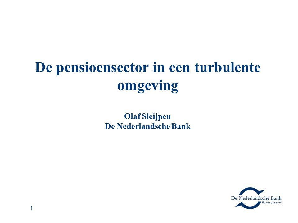 1 De pensioensector in een turbulente omgeving Olaf Sleijpen De Nederlandsche Bank