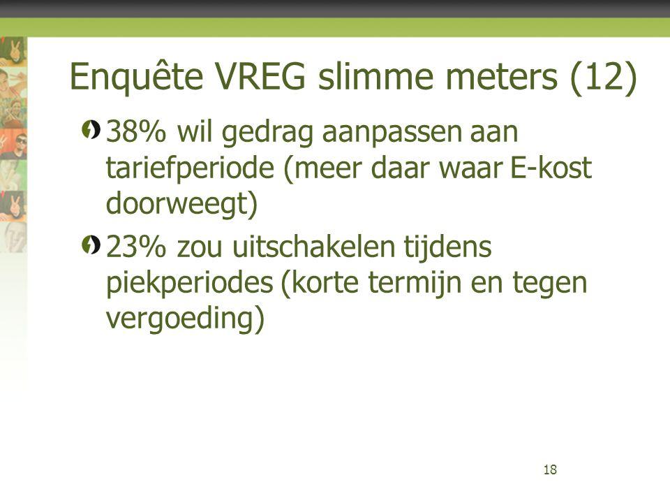 Enquête VREG slimme meters (12) 18 38% wil gedrag aanpassen aan tariefperiode (meer daar waar E-kost doorweegt) 23% zou uitschakelen tijdens piekperio