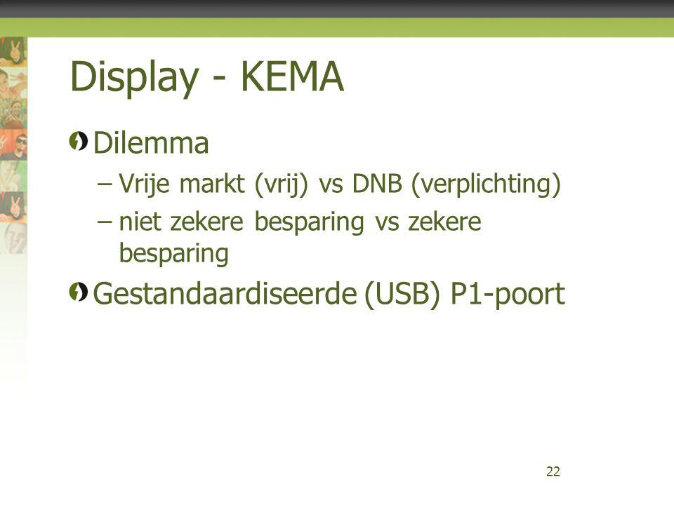 Display - KEMA Dilemma –Vrije markt (vrij) vs DNB (verplichting) –niet zekere besparing vs zekere besparing Gestandaardiseerde (USB) P1-poort 22
