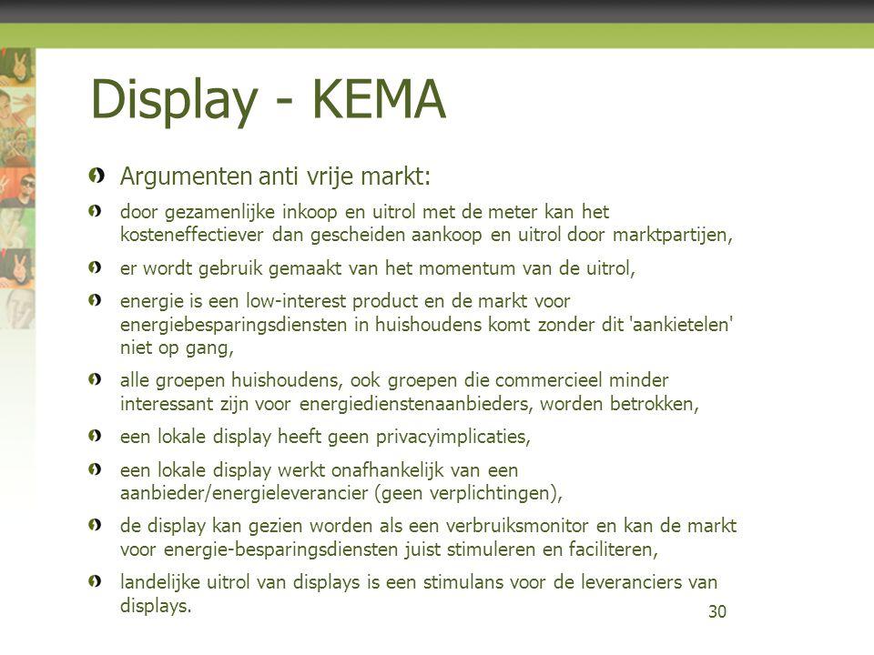 Display - KEMA Argumenten anti vrije markt: door gezamenlijke inkoop en uitrol met de meter kan het kosteneffectiever dan gescheiden aankoop en uitrol