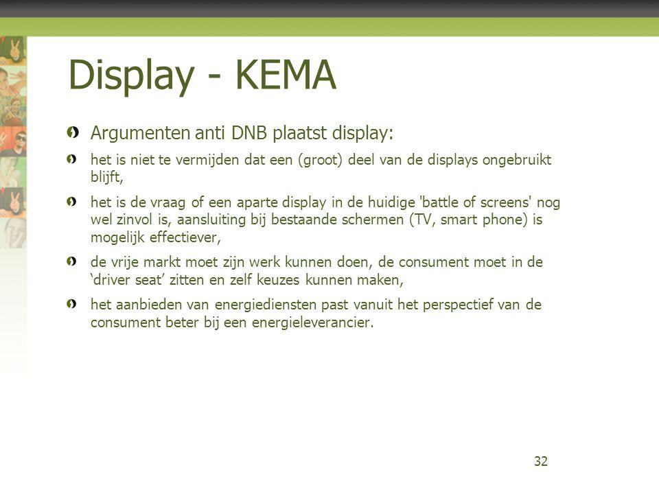 Display - KEMA Argumenten anti DNB plaatst display: het is niet te vermijden dat een (groot) deel van de displays ongebruikt blijft, het is de vraag o
