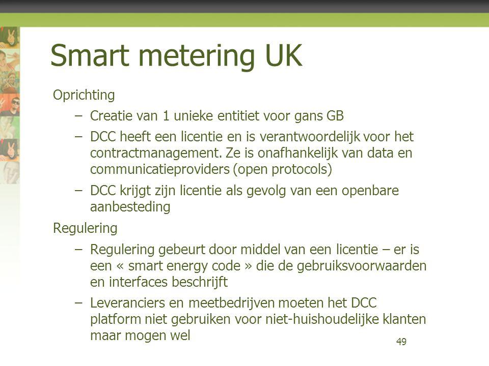 Smart metering UK Oprichting –Creatie van 1 unieke entitiet voor gans GB –DCC heeft een licentie en is verantwoordelijk voor het contractmanagement. Z