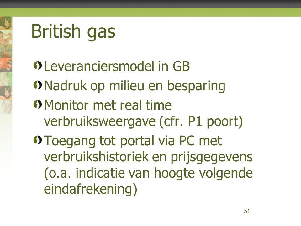 British gas Leveranciersmodel in GB Nadruk op milieu en besparing Monitor met real time verbruiksweergave (cfr. P1 poort) Toegang tot portal via PC me