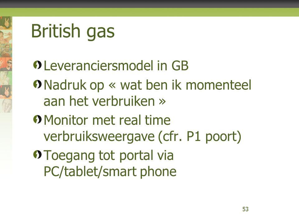 British gas Leveranciersmodel in GB Nadruk op « wat ben ik momenteel aan het verbruiken » Monitor met real time verbruiksweergave (cfr. P1 poort) Toeg
