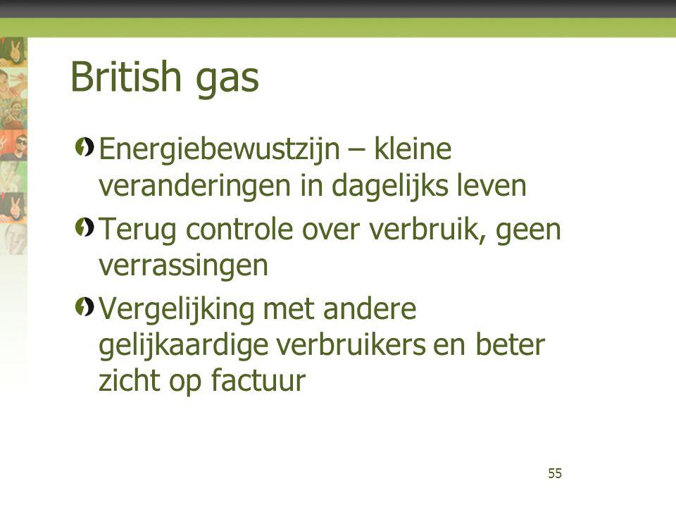 British gas Energiebewustzijn – kleine veranderingen in dagelijks leven Terug controle over verbruik, geen verrassingen Vergelijking met andere gelijk