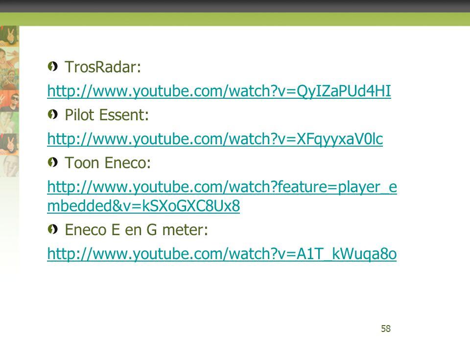 TrosRadar: http://www.youtube.com/watch?v=QyIZaPUd4HI Pilot Essent: http://www.youtube.com/watch?v=XFqyyxaV0lc Toon Eneco: http://www.youtube.com/watc