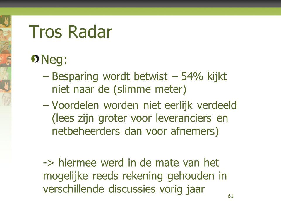 Tros Radar Neg: –Besparing wordt betwist – 54% kijkt niet naar de (slimme meter) –Voordelen worden niet eerlijk verdeeld (lees zijn groter voor levera