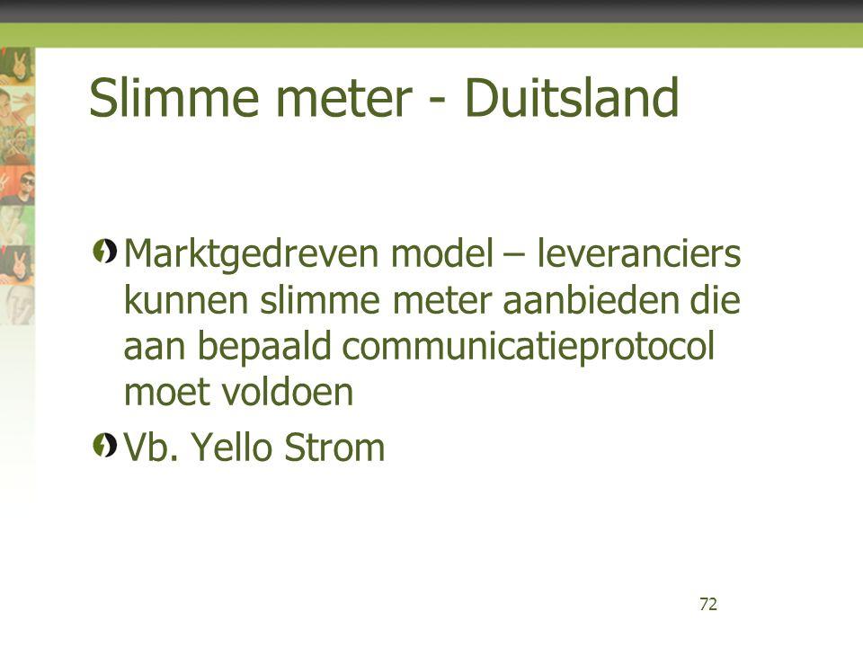 Slimme meter - Duitsland Marktgedreven model – leveranciers kunnen slimme meter aanbieden die aan bepaald communicatieprotocol moet voldoen Vb. Yello