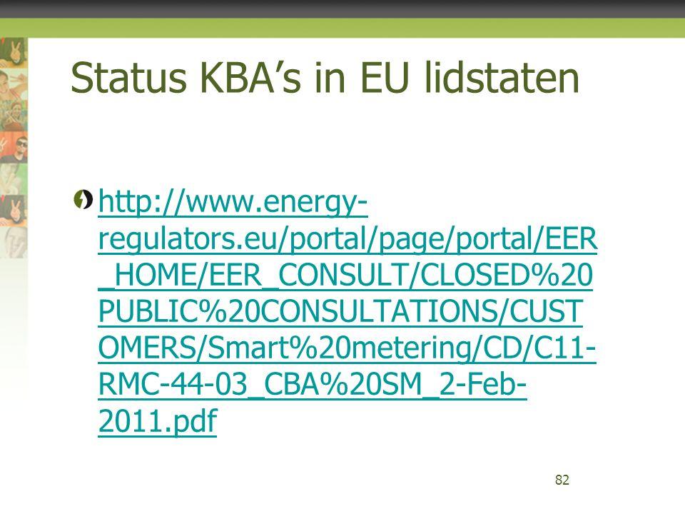 Status KBA's in EU lidstaten http://www.energy- regulators.eu/portal/page/portal/EER _HOME/EER_CONSULT/CLOSED%20 PUBLIC%20CONSULTATIONS/CUST OMERS/Sma