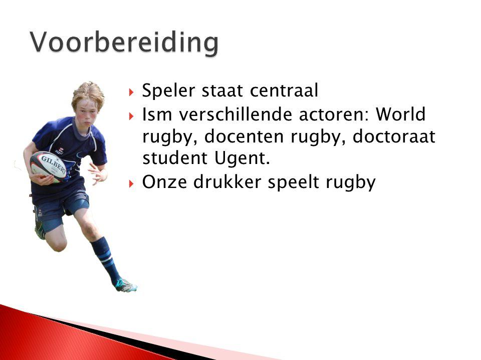  Speler staat centraal  Ism verschillende actoren: World rugby, docenten rugby, doctoraat student Ugent.  Onze drukker speelt rugby