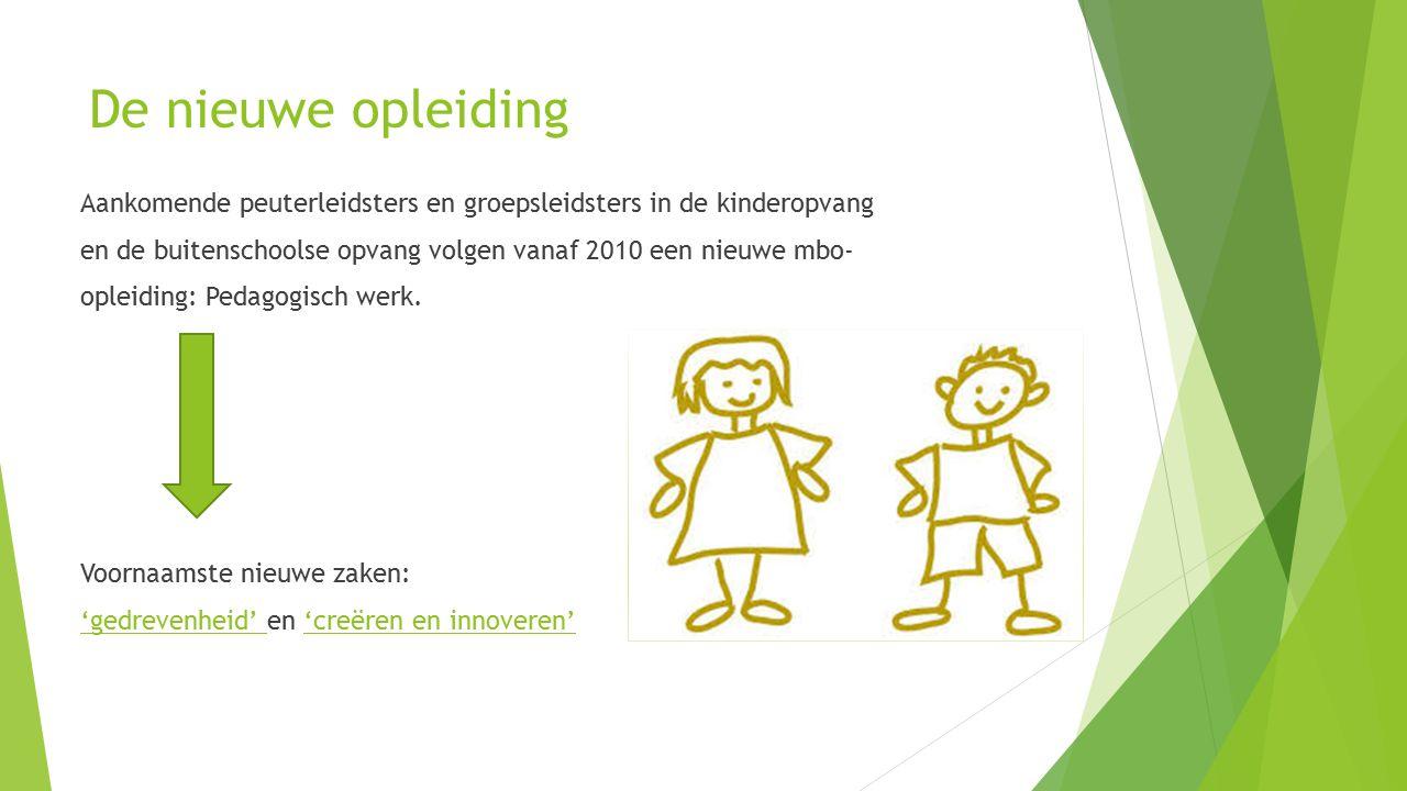 De nieuwe opleiding Aankomende peuterleidsters en groepsleidsters in de kinderopvang en de buitenschoolse opvang volgen vanaf 2010 een nieuwe mbo- opleiding: Pedagogisch werk.