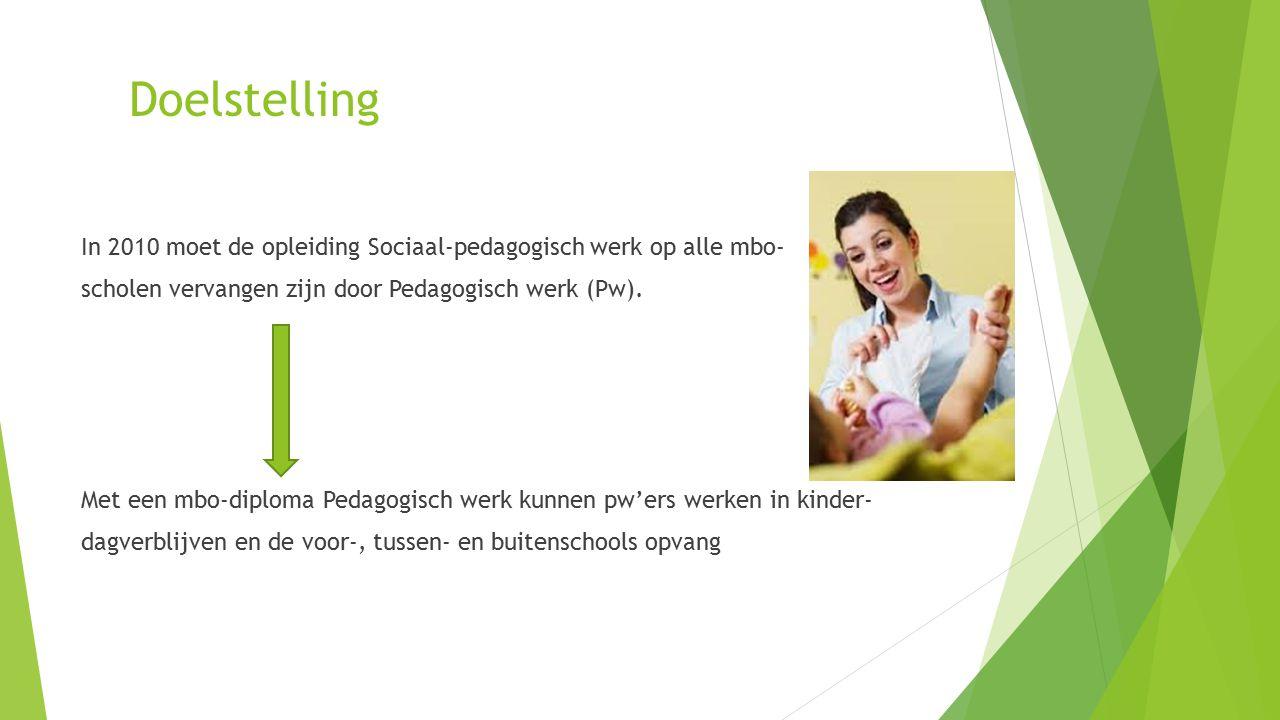 Doelstelling In 2010 moet de opleiding Sociaal-pedagogisch werk op alle mbo- scholen vervangen zijn door Pedagogisch werk (Pw).