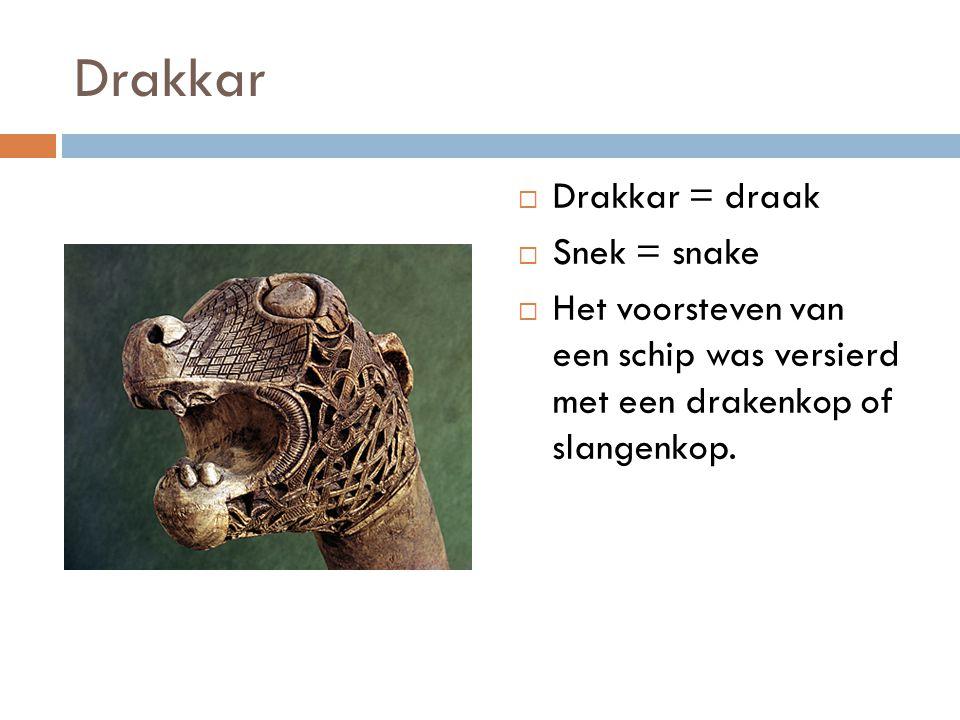 Drakkar  Drakkar = draak  Snek = snake  Het voorsteven van een schip was versierd met een drakenkop of slangenkop.