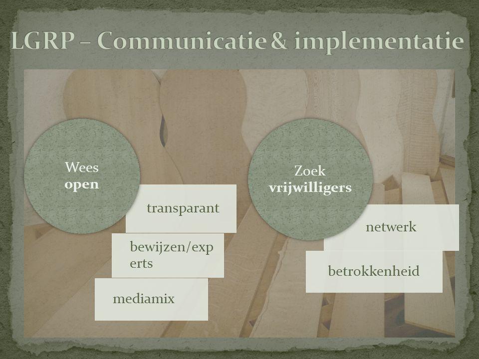 transparant bewijzen/exp erts mediamix Wees open netwerk betrokkenheid Zoek vrijwilligers